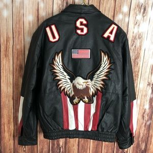 Leather Gallery Motorcycle Jacket with Eagle Sz L